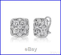 Vintage art deco style stud earrings french clip fastening solid 925 sterling