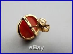 Vtg 14K Gold Red Coral Diamond Earrings Stud Heart Setting Carved Red Pink
